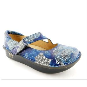 ALEGRIA Floral Blue Leather Mary Jane Flats 39